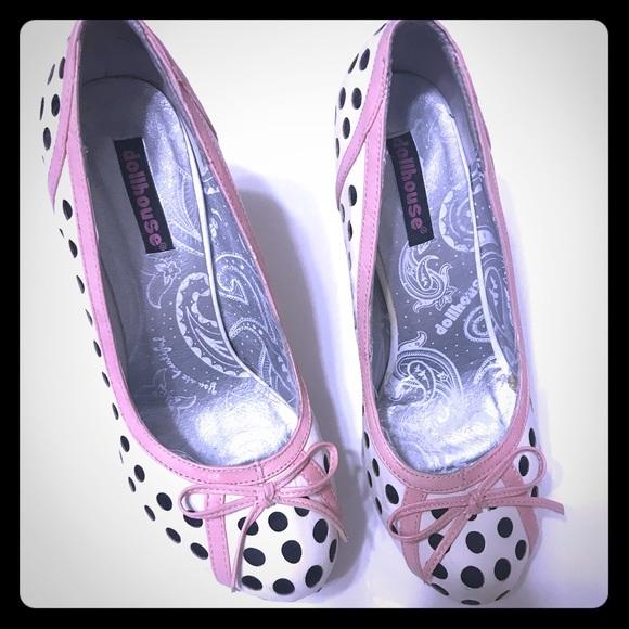 Dollhouse Shoes - Black & White Polka Dot Platform Stilettos [SH-11]